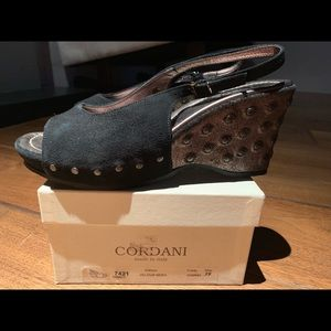 Cordani Grace Suede Black Metallic stud Sandal NEW